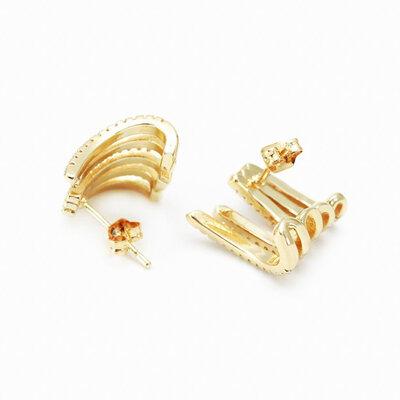 Brinco Ear Hook Zircônias - Banho Ouro 18k