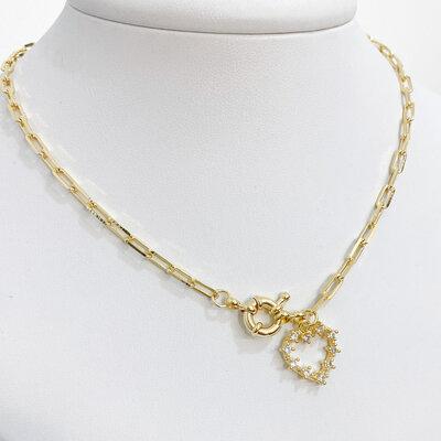 Colar Choker Cartier Coração Cravejado Cristais - Banho Ouro 18k