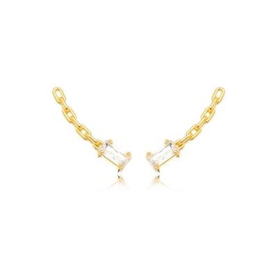 Brinco Ear Cuff Elos Cristal - Ouro 18k
