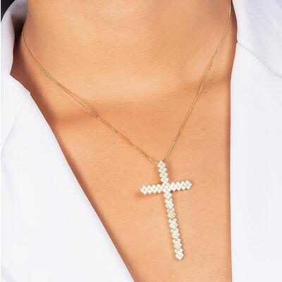 Colar Crucifixos Rígido Cravação em Zircônias - Banho Ródio Branco