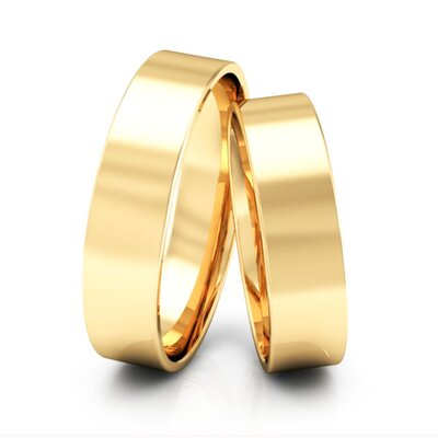 Par de Alianças Quadradas Casamento Ouro Maciço 18k