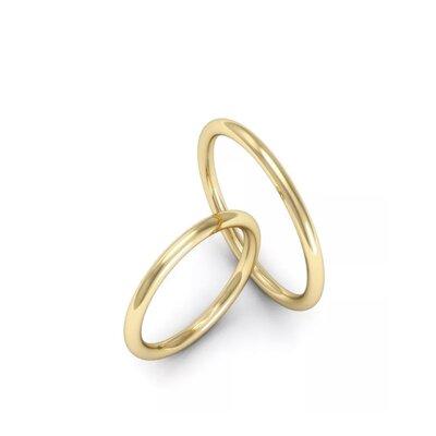 Par de Alianças Aro Cilíndrico Casamento Ouro Maciço 18k