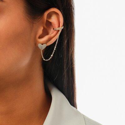 Brinco Ear Line Coração Cravejado - Ouro 18k