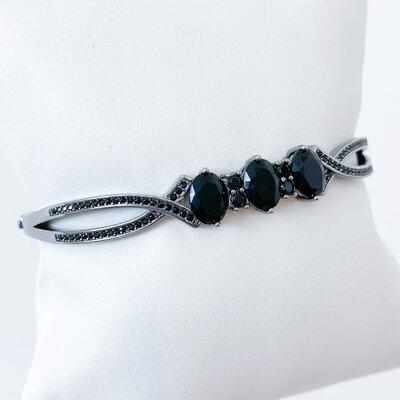 Bracelete Zircônias Negras - Ródio Negro