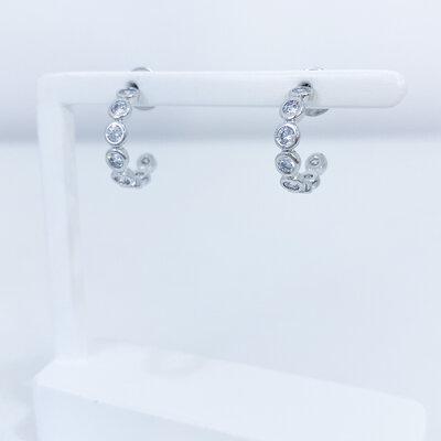 Brinco Argolinha Zirconias Cristais - Banho Ródio Branco
