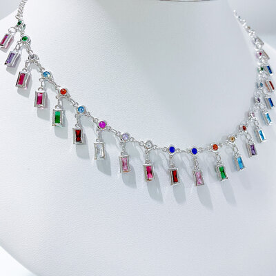 Colar Gargantilha Choker Rainbow Zircônias - Banho Ródio Branco