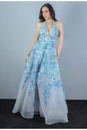 Vestido florido bordado estampado