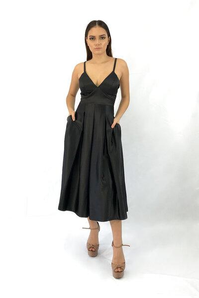 Vestido midi trancado nas costas saia evasê com pregas