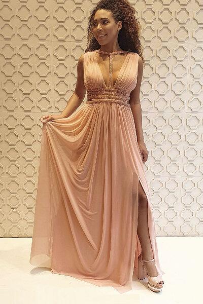 Vestido longo modelo grego