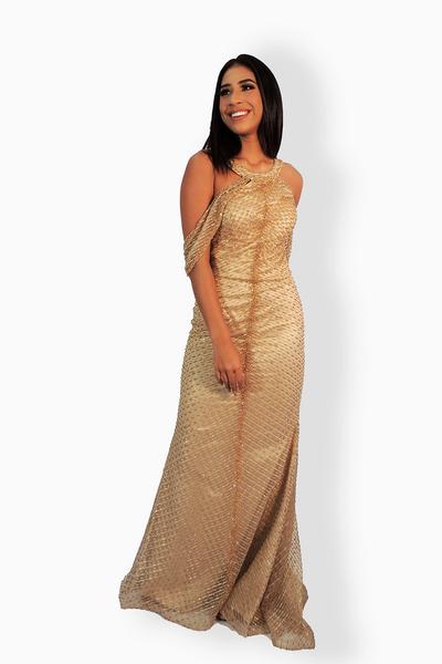 Vestido longo sereia bordado