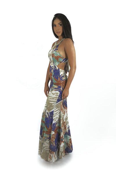 Vestido sereia amarração costas