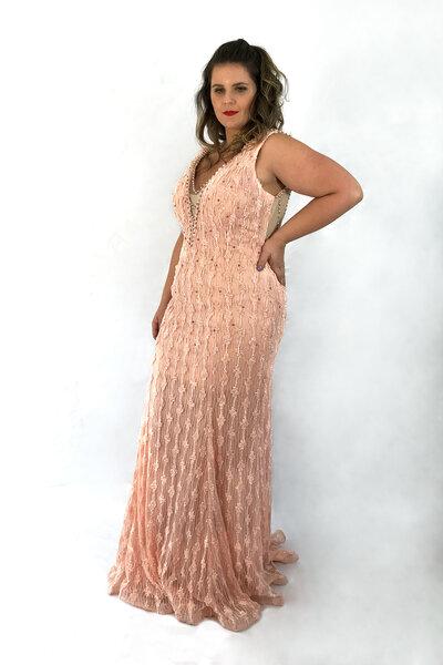 Vestido longo bordado sereia