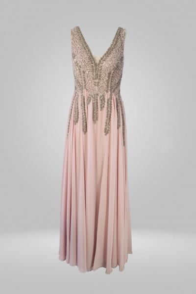 Vestido saia voal busto bordado com aplicações