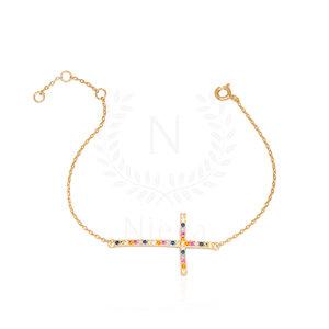 Pulseira Cruz Rainbow Ouro (Prata 925)