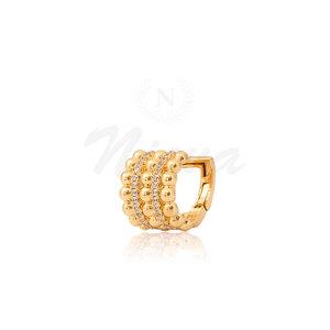 Brinco Piercing Luxo Bolas Ouro