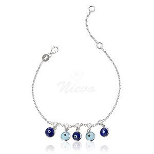 Pulseira Olhinhos Grego Blue & White Prata 925