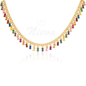 Colar Choker Baguetes Rainbow Ouro