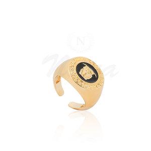 Anel Medusa Negro Ouro