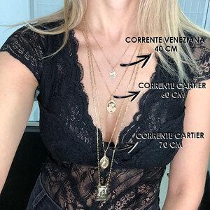 Corrente Veneziana Ouro 40 cm / 45 cm / 60 cm / 70 cm / 80 cm (Prata 925 com banho de ouro 18k)