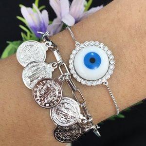 Pulseira Olho Grego Branco Cravejado Prata 925