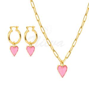 Conjunto Coração Esmaltado Rosa M Ouro