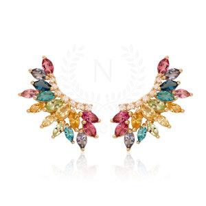 Brinco Ear Cuff Luxo Rainbow Ouro (Prata 925)