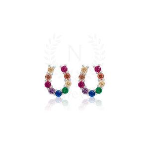 Brinco Ferradura Rainbow Prata 925