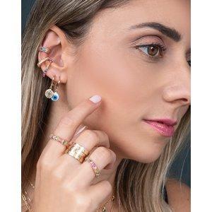 Brinco Ear Hook Palito Rainbow Ouro