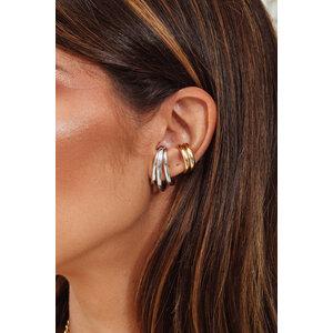 Brinco Ear Hook Triplo Ródio (Par - Encaixe)