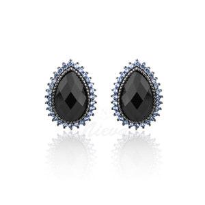 Brinco Gota Negro Azul