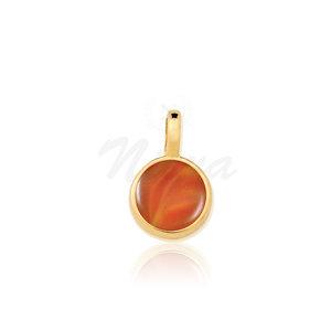 Pingente Ágata Vermelha Pedra Natural Ouro