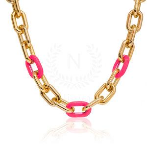 Colar Elos Pink Neon