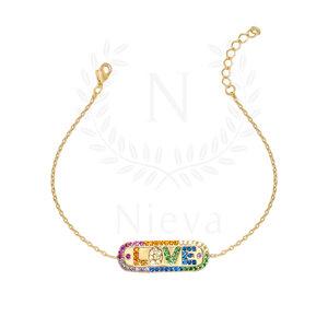 Pulseira Love Rainbow Ouro (Prata 925)