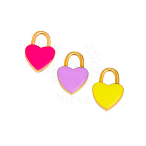 Pingente Coração Ouro: Pink, Amarelo e Lilás (Escolha a sua cor) - Acompanha contra argola