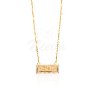 Colar Chapa Love Ouro Cravejado