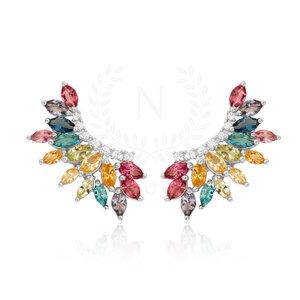 Brinco Ear Cuff Navete Luxo Rainbow Prata