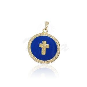 Pingente Medalha Cruz Azul Ouro