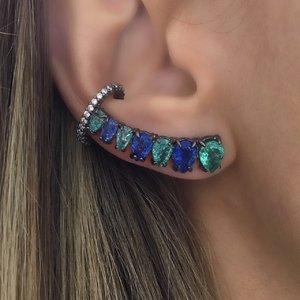 Brinco Ear Cuff Gotas Luxo Safira & Turmalina