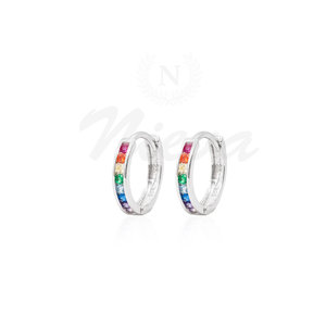 Brinco Argola New Prata Rainbow