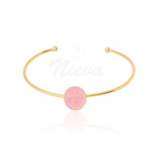 Bracelete Cruz Rosa Esmaltado Ouro