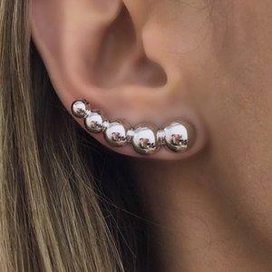 Brinco Ear Cuff Bolinhas Ródio