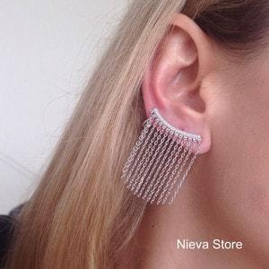Ear Cuff Correntes Prata