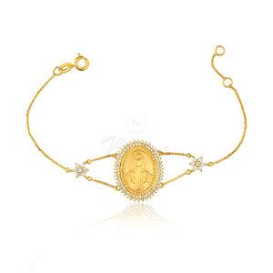 Pulseira Medalha Nossa Senhora Das Graças Ouro Lala Inspired