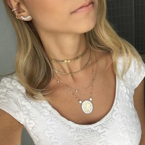 Colar Ponto de Luz Tiffany Tradicional Ouro (Curto)
