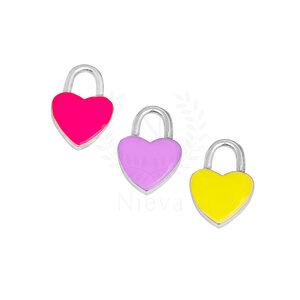 Pingente Coração Ródio: Pink, Amarelo e Lilás (Escolha a sua cor) - Acompanha contra argola