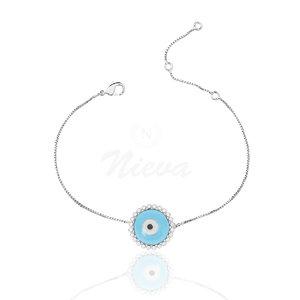 Pulseira Olho Grego Azul Cravejado Prata 925