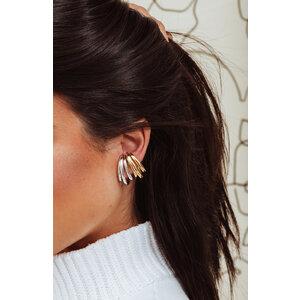 Brinco Ear Hook Triplo Ouro (Par - Encaixe)
