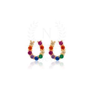 Brinco Ferradura Rainbow Ouro (Prata 925)