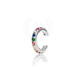 Brinco Piercing Sarah Rainbow Prata 925