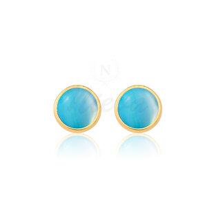Brinco Ágata Azul Céu Pedra Natural Ouro